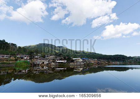 Ban Ruk Thai village chinese style riverside view in front of the mountain Mae Hong Son Thailand
