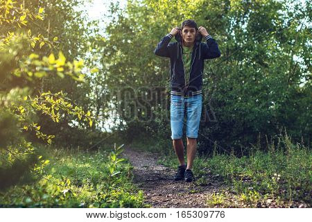 man on a morning jog in the forest healthy lifestyle