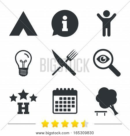 Food, hotel, camping tent and tree icons. Knife and fork. Break down tree. Road signs. Information, light bulb and calendar icons. Investigate magnifier. Vector