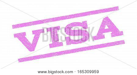 Visa watermark stamp. Text tag between parallel lines with grunge design style. Rubber seal stamp with dirty texture. Vector violet color ink imprint on a white background.
