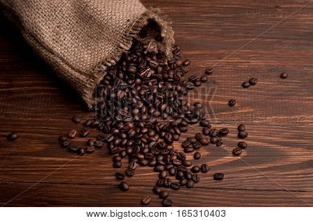 Coffee beans spilled out of the bag