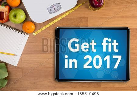 Invest In Your Health , Healthy Lifestyle Concept With Diet And Fitness , Get Fit In 2017 , Fitness