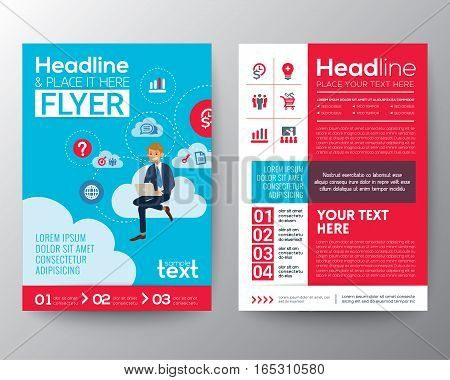 business brochure flyer design layout template with businessman sitting on cloud network background in A4 size