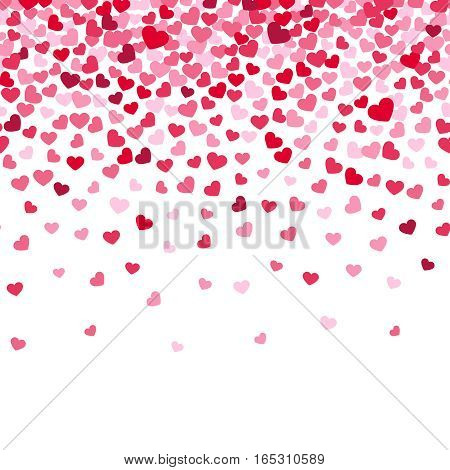 Flying heart confetti, valentines day vector background, romantic love vector simple texture