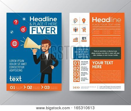 business brochure flyer design layout template with businessman holding a megaphone marketing concept illustration in A4 size