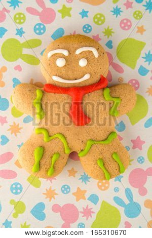 the gingerbread man in the background Christmas concept
