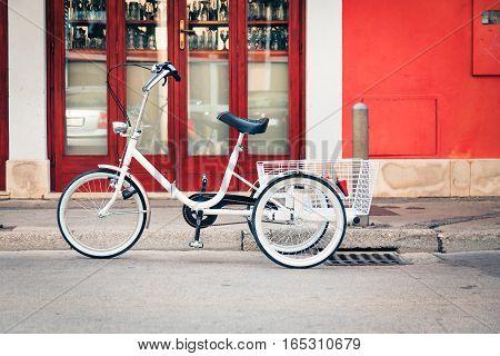 trike in the streets of piran, slovenia.