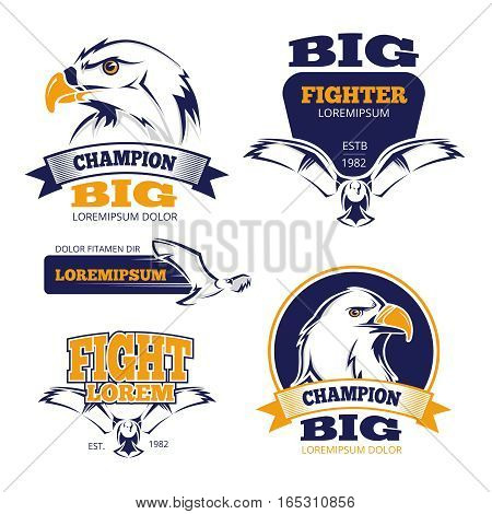 Heraldic crest military vector emblems with eagles. Military logo, fight predator eagle mascot for logo illustration