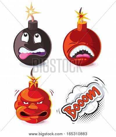 Vector cartoon bomb explosion effect animation frames for game. Bomb with wick, animation explosion power bomb illustration