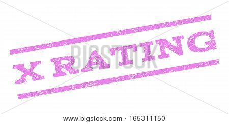 X Rating watermark stamp. Text caption between parallel lines with grunge design style. Rubber seal stamp with dirty texture. Vector violet color ink imprint on a white background.
