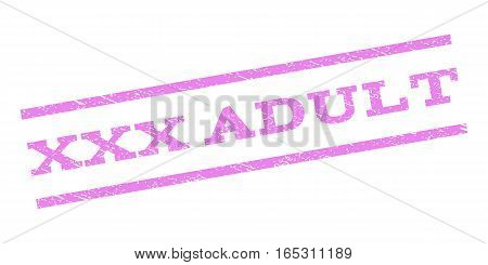 XXX Adult watermark stamp. Text tag between parallel lines with grunge design style. Rubber seal stamp with scratched texture. Vector violet color ink imprint on a white background.