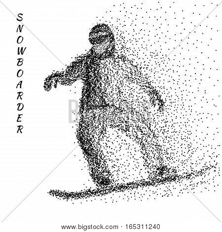 Silhouette of a snowboarder from particles. Abstract dotted surface. Black dots on white background