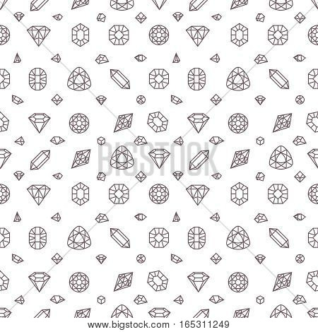 Crystal diamonds, miner stones vector seamless pattern. Gem stone linear, illustration seamless pattern with diamond stones