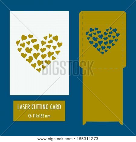 Template - envelope for laser cut. Wedding invitation envelope for cutting machine or laser cutting. Suitable for greeting cards invitations menu