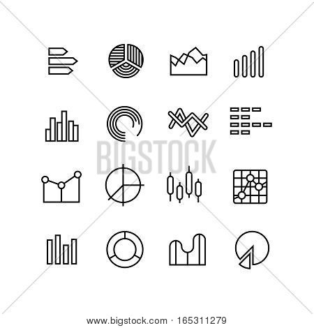 Graph, data chart, statistics data representation, business diagram vector thin line icons. Data statistic graph and diagram symbol illustration
