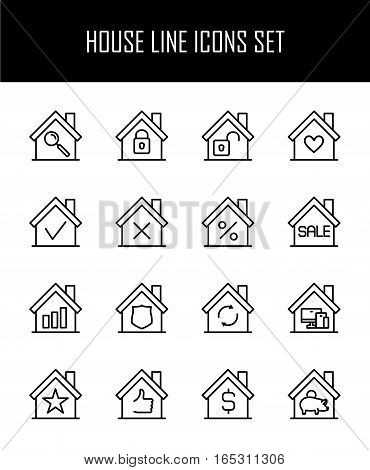 Set of house in modern thin line style. High quality black outline home symbols for web site design and mobile apps. Simple linear house pictograms on a white background.