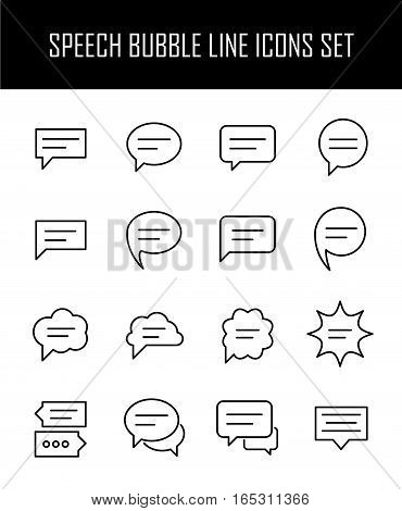 Set of speech bubble in modern thin line style. High quality black outline conversation symbols for web site design and mobile apps. Simple linear speech pictograms on a white background.