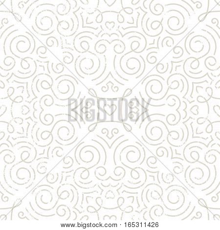 Silver vintage seamless wallpaper with swirls and hearts. Line art pattern with grunge texture. EPS10 vector illustration.