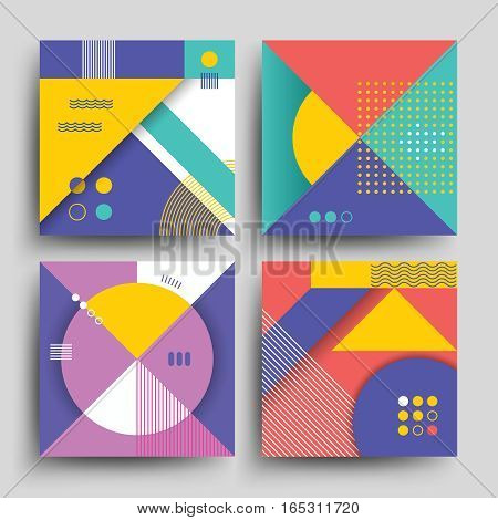 Retro patterns with abstract simple geometric shapes vector design for covers, placards, posters, flyers and banner. Vintage retro color banner with backdrop in vintage style illustration