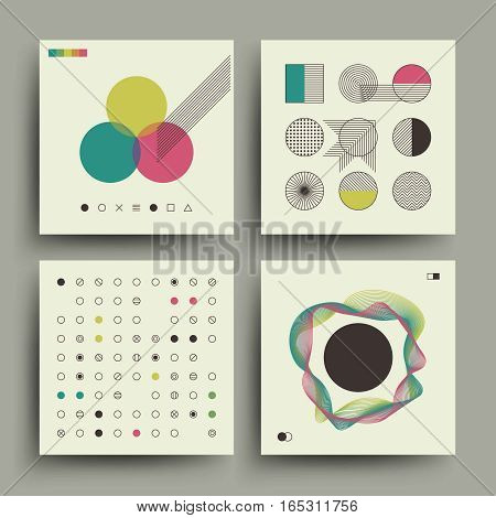Old magazine, vintage music album covers in swiss style vector. Set of retro placard, booklet with retro trendy pattern illustration