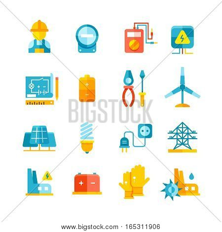 Electricity, electric meter, electrical equipment flat vector icons. Electric industrial and alternative electric power illustration