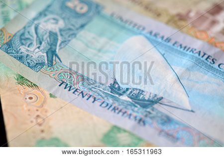 Banknote In Twenty Dirhams Of The United Arab Emirates Close Up