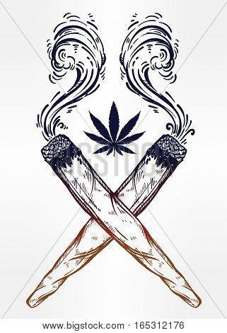Two crossed smoking weed joints or spliffs with a leaf of cannabis. Drug consumption, marijuana use silhouette clip art. Concept design, Elegant tattoo artwork. Isolated vector illustration.