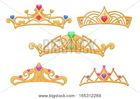 Vector princess crowns, tiaras with gems cartoon set. Luxury royal crown with precious stone, illustration of fashion golden crowns