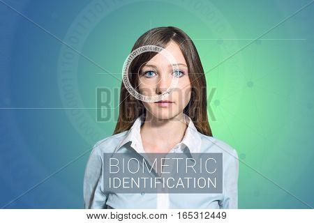 Biometric verification - woman face detection high technology poster