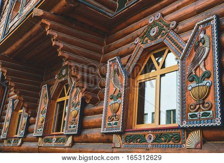 Wooden house ornament in the old style