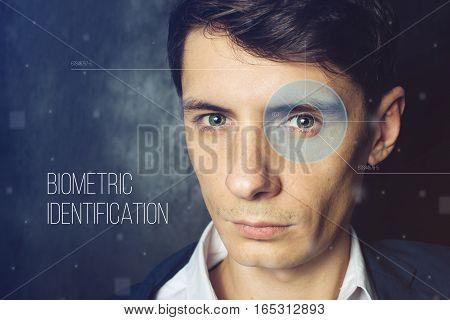 Biometric Verification. Face Men's Retinal Scan