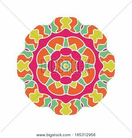 Circular background. Oriental pattern illustration. Flower circular ornament. A stylized mandala. Beautiful ethnic, oriental kaleidoscope big bud. Stylized lace ornament. Vintage
