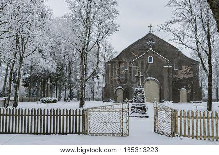 Old Church In Winter Period.