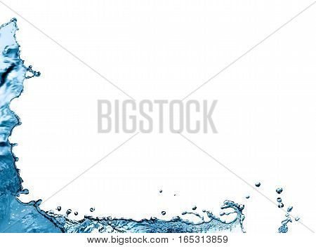 Nice abstract water splash border with drops on white background