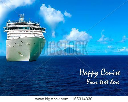 Cruise ship in open water - front view with copy space for text.