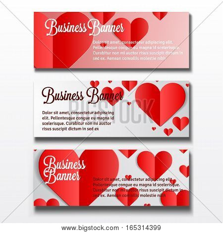 Set of three horizontal Valentines Day business banner templates with heart