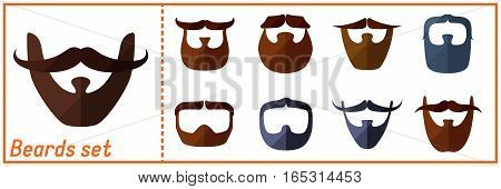 Beard flat icons set with hipster styled mustache