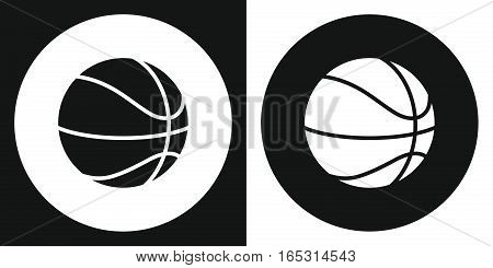 Basketball ball icon. Silhouette basketball ball on a black and white background. Sports Equipment. Vector Illustration