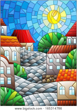Illustration in stained glass style urban landscaperoofs and trees against the day sky and sun