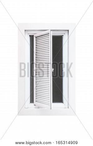 Open wood window isolated on white background.