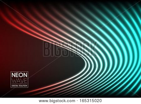 Bright neon lines background with 80s style