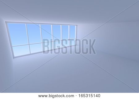 Business architecture office room interior - empty blue business office room with floor ceiling walls and large window with morning blue sky light 3d illustration view from ceiling