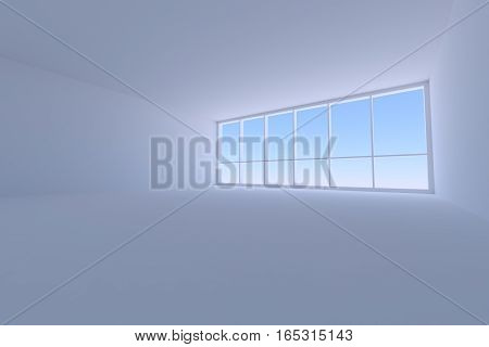 Business architecture office room interior - empty blue business office room with floor ceiling walls and large window with morning blue sky light 3d illustration wide angle from floor