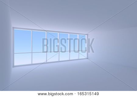 Business architecture office room interior - empty blue business office room with ceiling floor and walls and large window with morning blue sky light 3d illustration