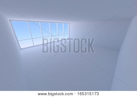 Business architecture office room interior - empty blue business office room with floor ceiling walls and large window with morning blue sky light 3d illustration wide angle from ceiling