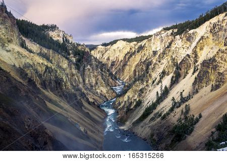 Lower Fall And River Viewed From Artist Point, Grand Canyon At Yellowstone