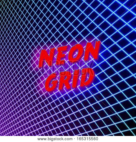 Bright neon grid lines background with 80s style