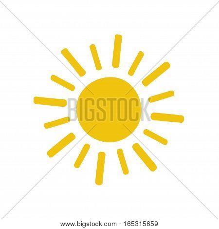 painted yellow Sun icon. Stock vector illustration