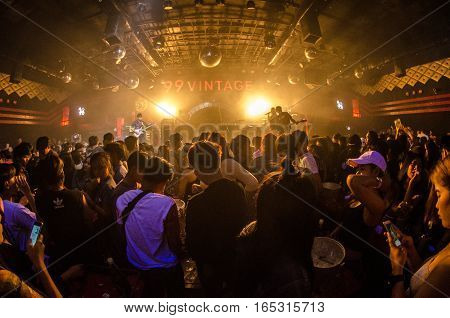 blur club party  people dancing in night club