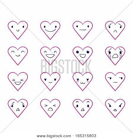 Vector set of heart emoticons, doodle hand-drawn smiley icons, isolated on white background, different emotions, smile, happy, cry, EPS 8